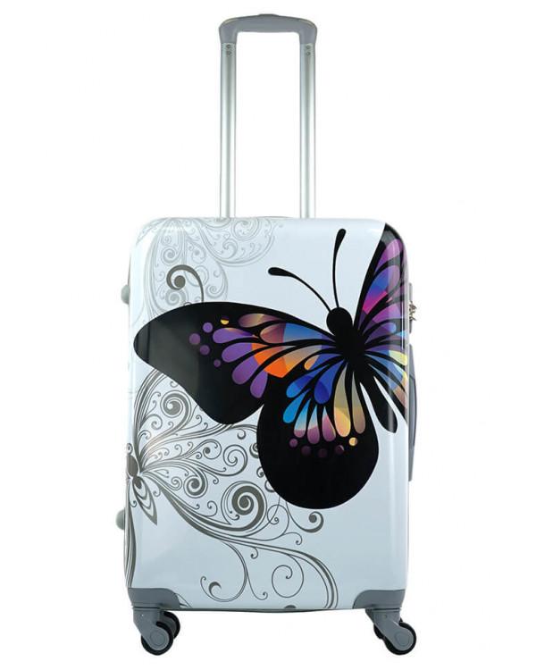 Чемодан ABS Пластик Бабочка белая (M)